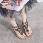 Women Sandals Open Toes Summer Flat Casual Bohemia Beach Sandals Ethnic Crystal Sandals Women Shoes Black Brown Mujer