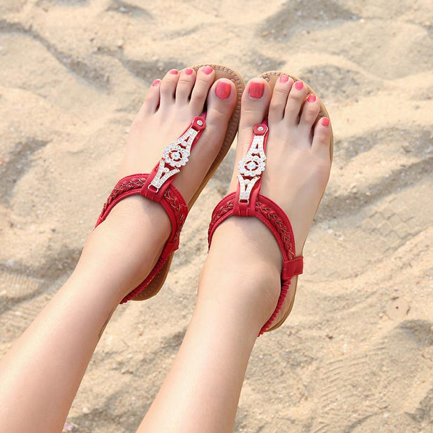 Women Summer Casual Flats Beach Sandals Shoes Woman Bohemia Crystal Flip Flop Ethnic Retro Gladiator Sandals
