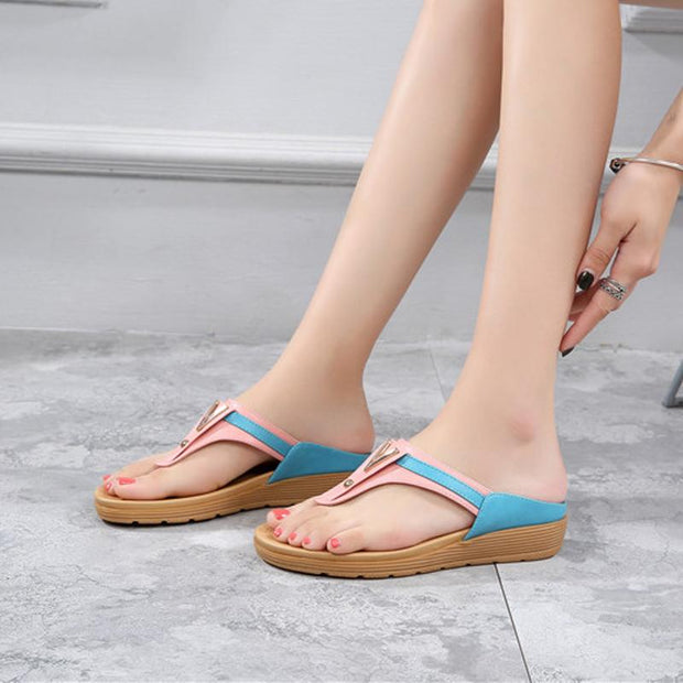 women's slippers comfort flat sandals Korean version clip-on slippers outside wear patchwork slippers direct sale