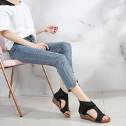 Woman Breathable Knit Women Sandals Big Size Slip On Lady Summer Wedges Shoes Open Toe Round Toe Girls Outdoor Casual Sandals