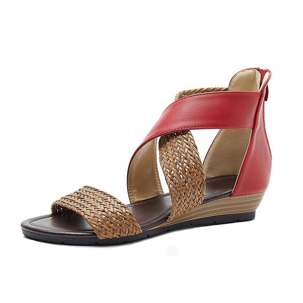 Women Weave Wedge Sandals Heel Shoes woman Zipper Sandals Casual Cross Strappy Beach Sandals Plus size Roman Bohemian Shoes