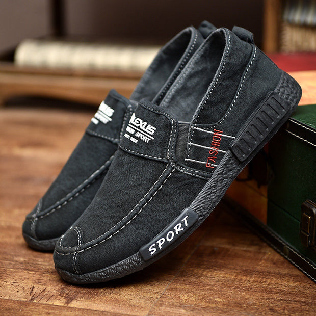 Men Washed Canvas Comfy Soft Sole Slip On Casual Shoes