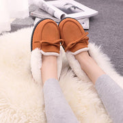 Women's Ribbon Hairy Mouth Indoor Warm Bagging Cotton Shoes