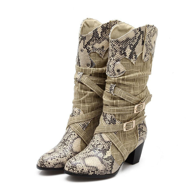 138328 Women's autumn and winter explosions snake pattern sleeve European and American boots