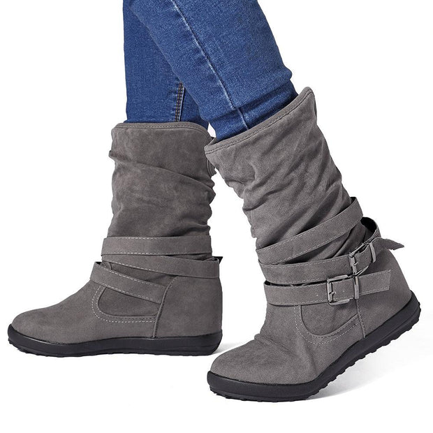 138928 Women Warm Lined Solid Color Buckle Snow Boots