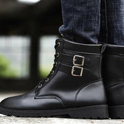 139014 Men Lace-Up Front Double Buckle Combat Boots