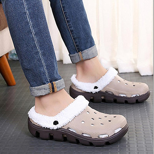 Women's  autumn and winter new plus velvet hole shoes warm casual fur shoes non-slip wear flat cotton slippers