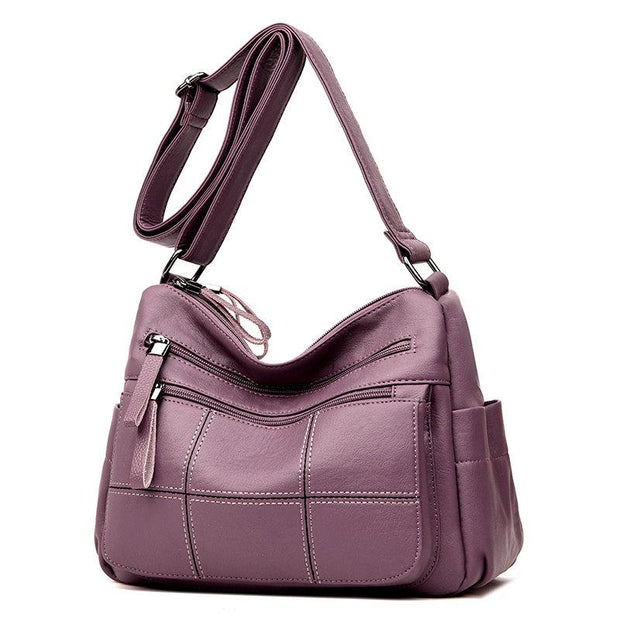 Women Solid Multi-Slot Soft Leather Crossbody Bag Leisure Stitching Messenger Bag