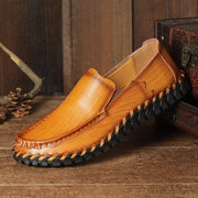 Men Hand Stitching Non Slip Comfy Slip On Casual Leather Shoes