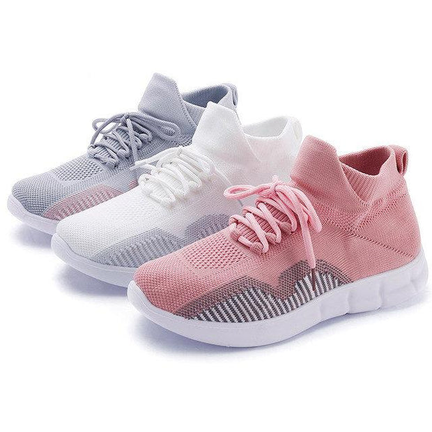 Women Hollow Breathable Light Knit Strappy Flat Casual Shoes