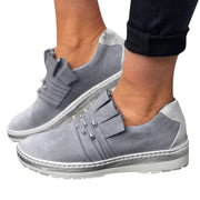 Women's Plus Size Casual Round Toe Metal Slip On Platform Loafers