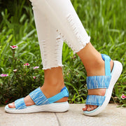 Women's Elastic Band Peep Toe Athletic Sole Slip On Lightweight Flat Sandals
