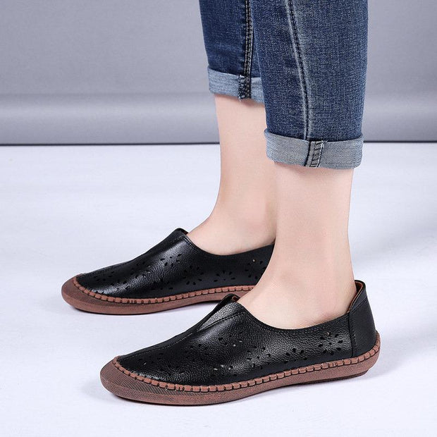 Women Cow Split Leather Hollow Out Breathable Soft Non Slip Women's Casual Loafers