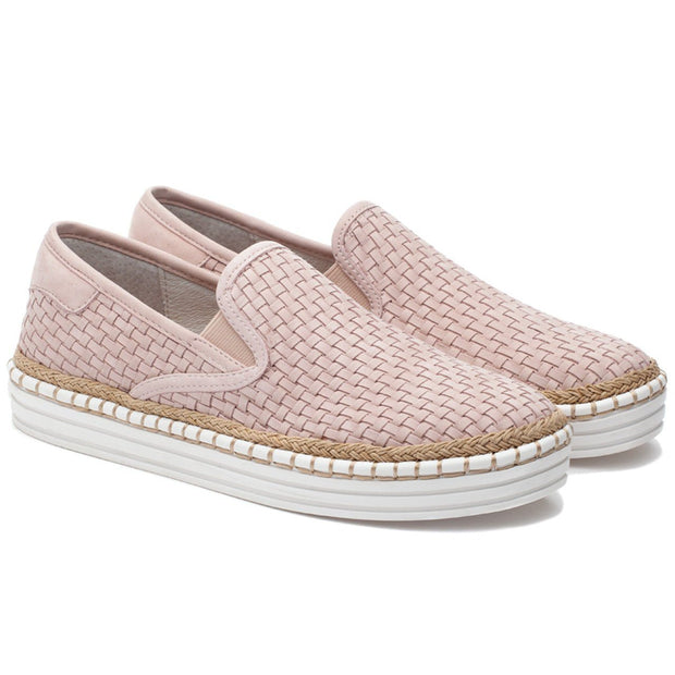 Women Large Size Weave Pattern Comfy Flat Casual Shoes