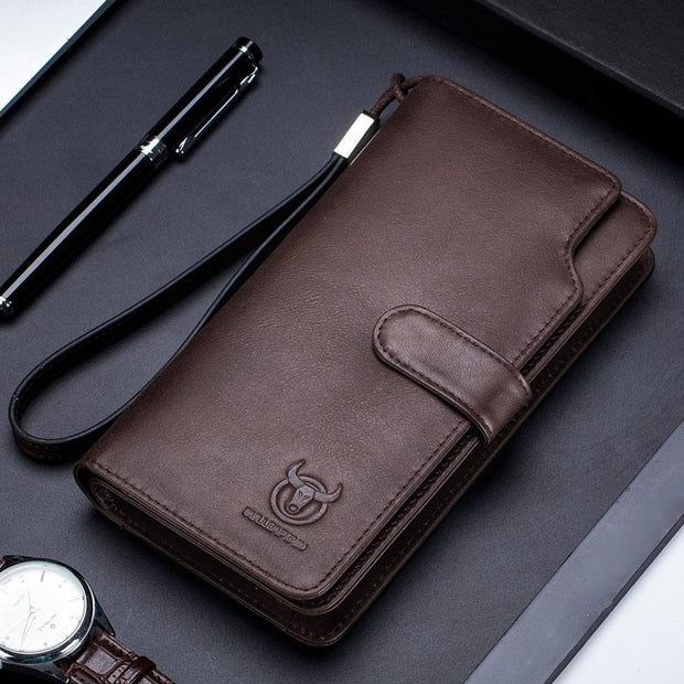 Men's BULLCAPTAIN Wallet Clutch Genuine Leather Brand Rfid Wallet Male Organizer Cell Phone Clutch Wrist Bag Long Coin Purse