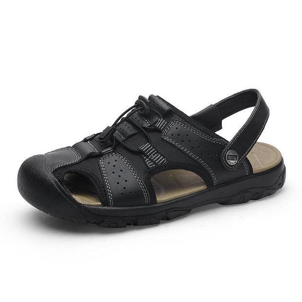 Men's Anti-collision Non Slip Large Size Outdoor Casual Leather Sandals