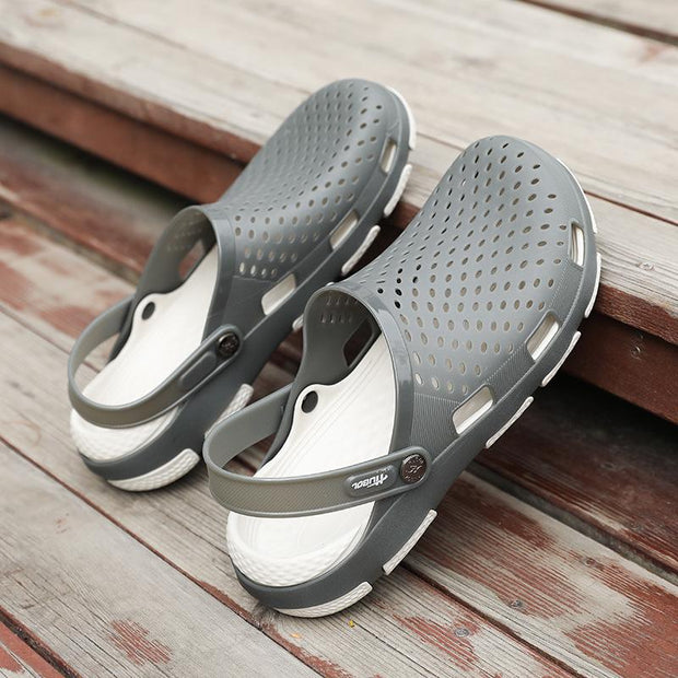 Men's sandals Baotou hollow holes shoes soft bottom non-slip large size beach slippers
