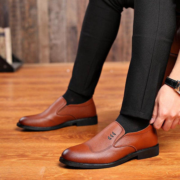 Men Classic Pointed Toe Slip On Business Formal Dress Shoes