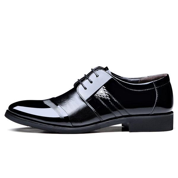 Men Color Blocking Splicing Pointed Toe Lace Up Formal Shoes