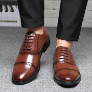 Men Large Size Brogue Cap Toe Business Dress Shoes Casual Oxfords