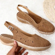 Women PU Round Toe Casual Buckle Sandals