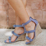 Women Peep Toe Bowknot Back Zipper Wedge Sandals Plus Sizes