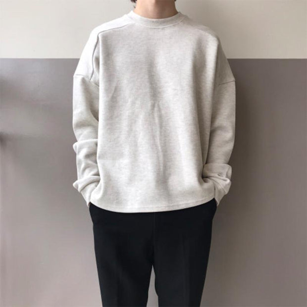 Men's Fashion Round Neck Solid Sweatshirt
