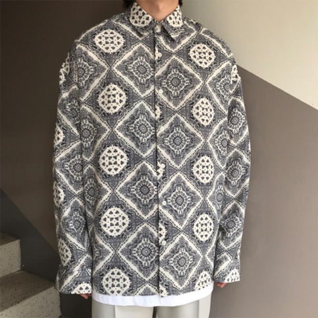 Men's Fashion Traditional Print Loose Casual Long Sleeve Shirt