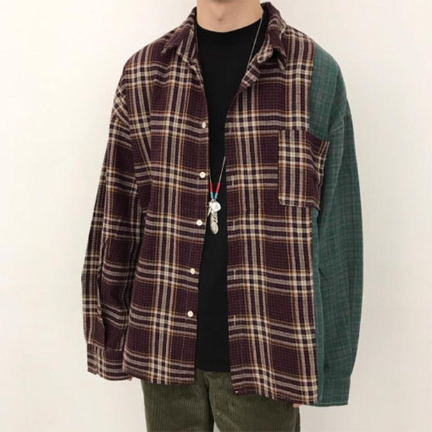 Men's Stylish Contrast Plaid Loose Shirt