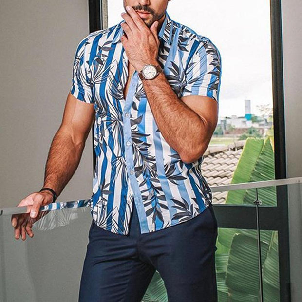 Men's Casual Vacation Leaf Print Shirt