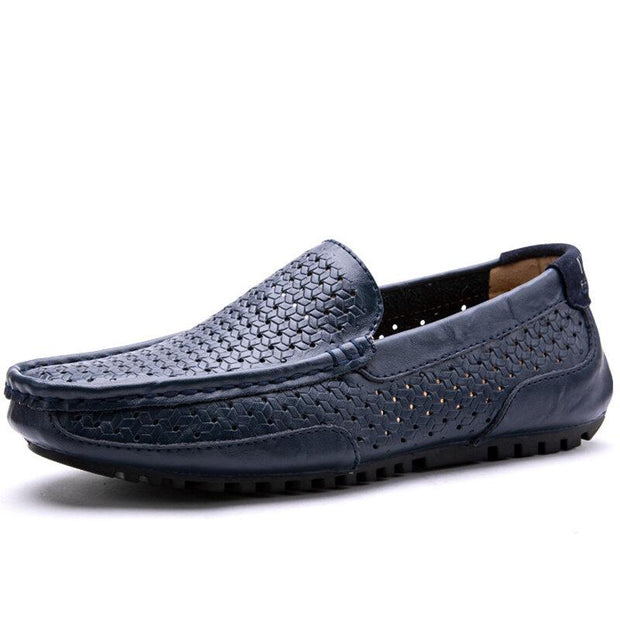 Men Microfiber Leather Hole Breathable Slip On Casual Shoes