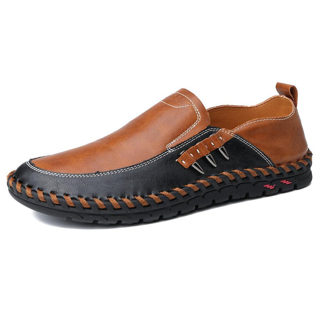 Men Stylish Metal Buckle Comfort Soft Slip On Driving Leather Loafers