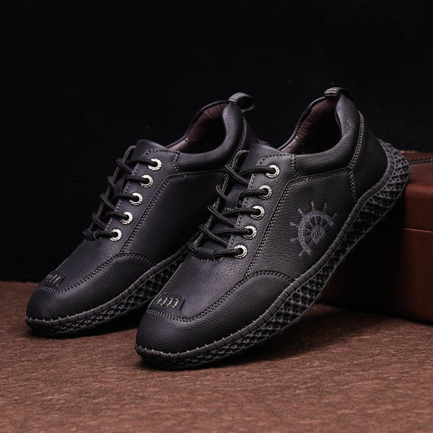 Men Non Slip Hand Stitching Cow Leather Casual Shoes
