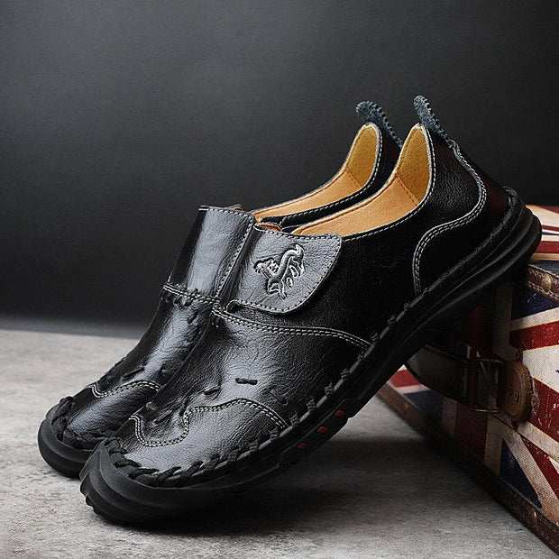 Men Hand Stitching Toe Protective Soft Hook Look Cow Leather Shoes