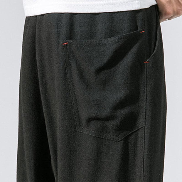 Mens Thin Linen Breathable Solid Color Loose Drawstring Casual Harem Pants