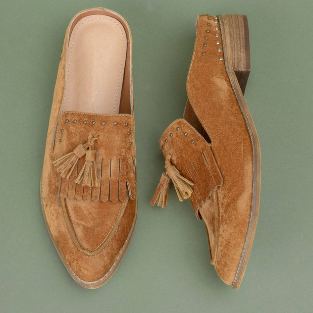 Women's Tasseled Faux Suede Loafer Mules
