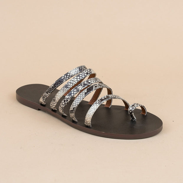 Women's Strappy Studded Toe Loop Sandals