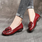 Women's Genuine Leather Flower Retro Slip On Vintage Flat Loafers
