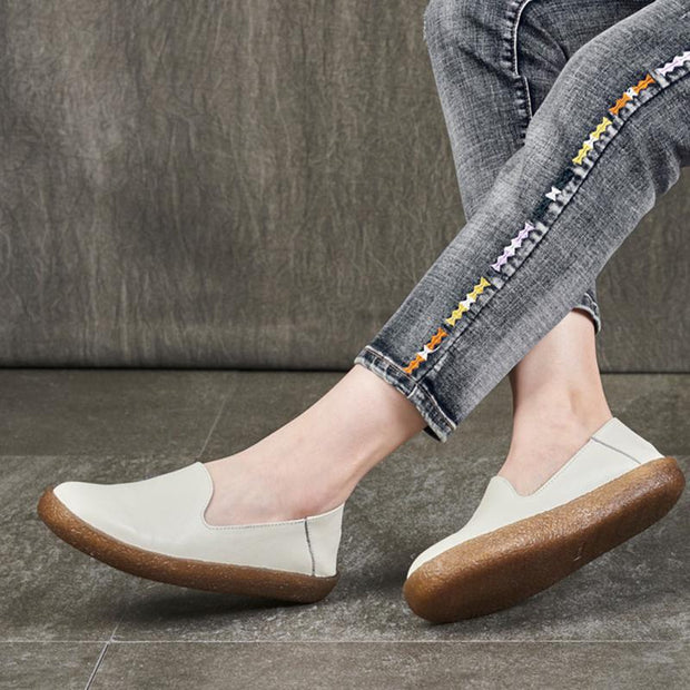 Women's handmade retro soft leather flat shoes
