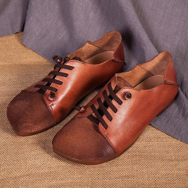 Women's lace up handmade retro soft leather flat shoes