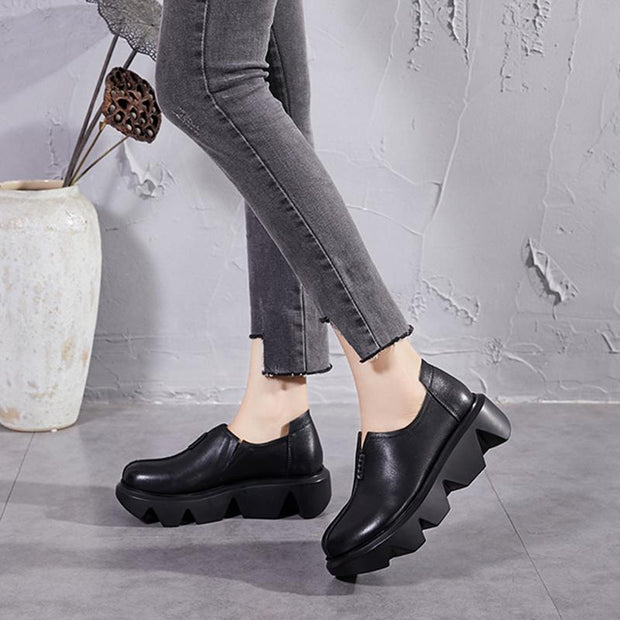 Women's handmade retro soft leather  thick bottom shoes slip-on