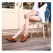 Women's handmade retro soft leather flat shoes slip-on hollow sandals casual shoes