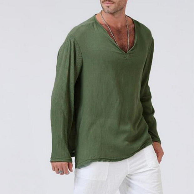 Men's long-sleeved t-shirt linen V-neck shirt male solid color cotton shirt