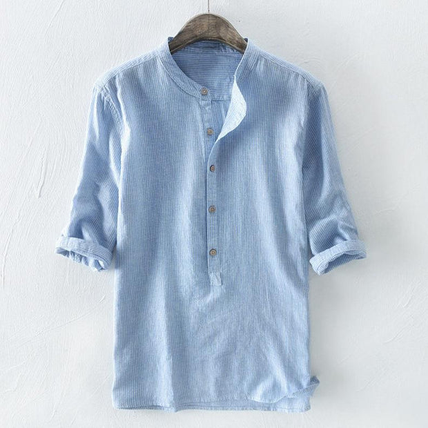 Men's striped shirt male summer shirt