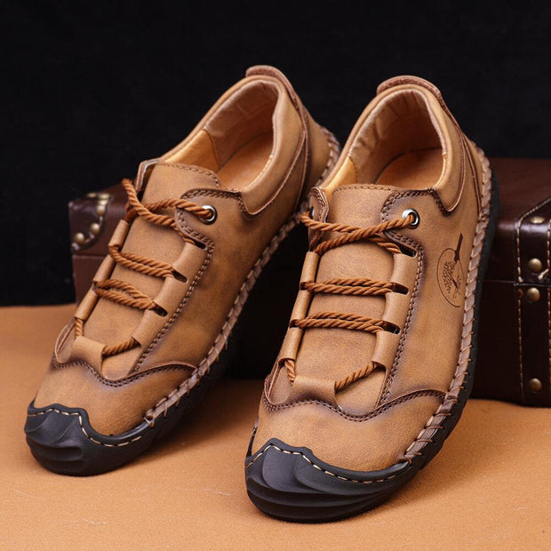 Men's Non Slip Hand Stitching Anti-collision Casual Leather Shoes