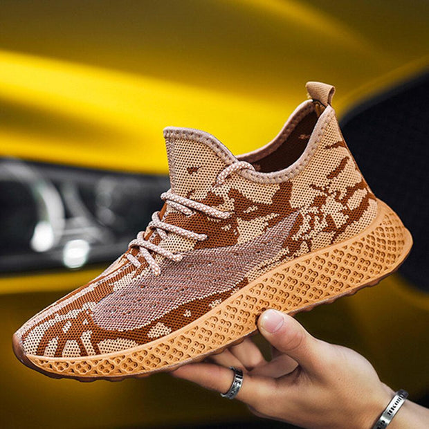 Men's Breathable Knitted Soft Light Weight Lace Up Running Sneakers