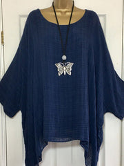Women's Crew Neck Printed/dyed Solid Batwing Tops