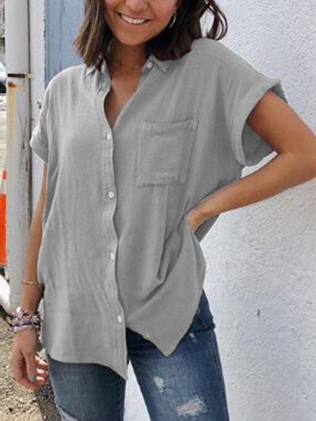 Women Casual Buttoned Short Sleeve Tops