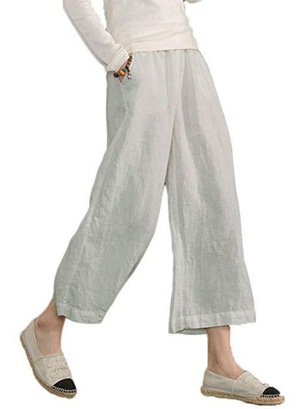 Women Plus Size Daily Shift Casual Cotton-blend Buttoned Solid Pants