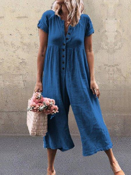Women Short Sleeve Solid Buttoned Jumpsuits